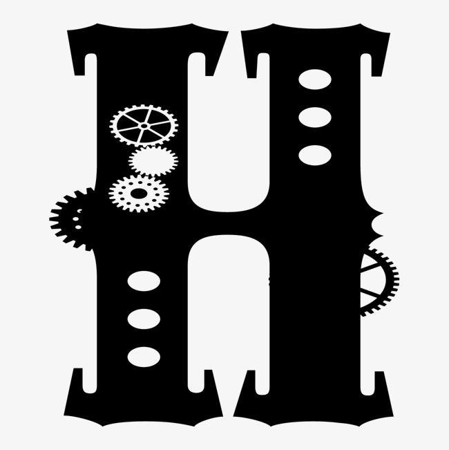 卡通手绘英文字母h