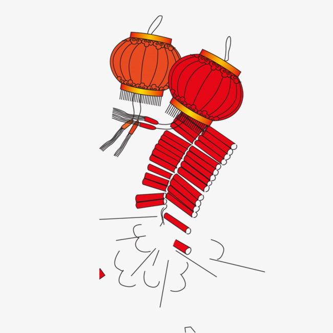 红色手绘线稿灯笼庆祝