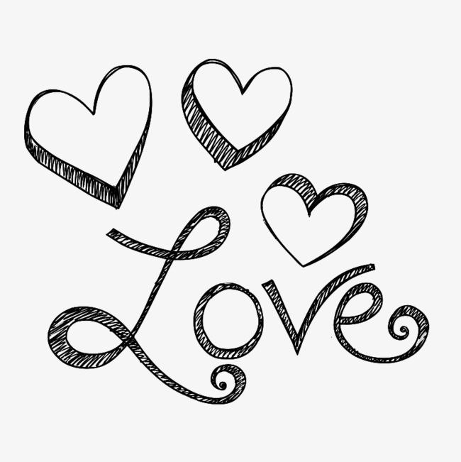 love爱心手绘艺术字