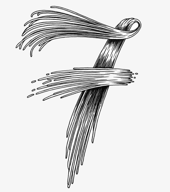 卡通手绘黑色数字7