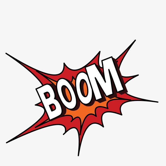 手绘矢量红色爆炸boom