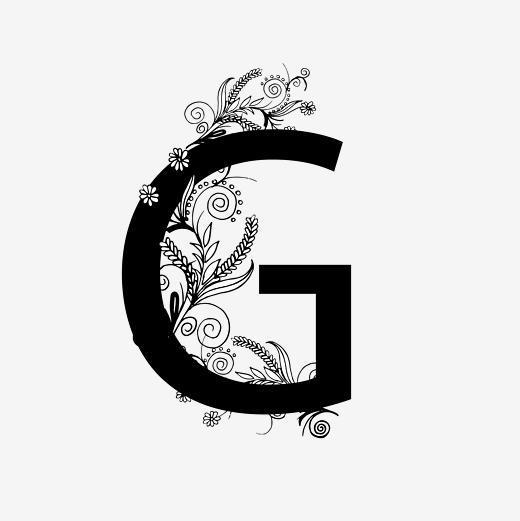 黑白奢华字母g艺术字字体下载_艺术字图片素材下载-字