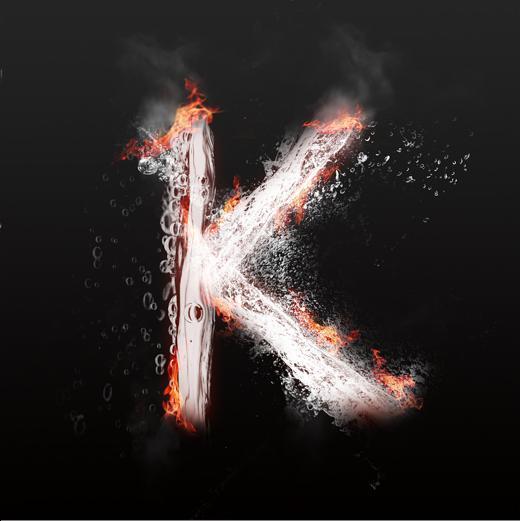 字魂网 艺术字 水火交融大写字母艺术字k  图片品质:原创设计 图片图片