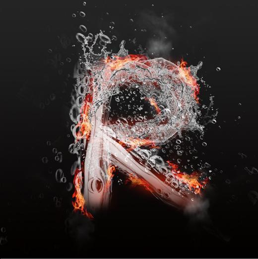 字魂网 艺术字 水火交融大写字母艺术字r  图片品质:原创设计 图片图片