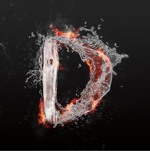 字魂网 艺术字 水火交融大写字母艺术字d  图片品质:原创设计 图片图片