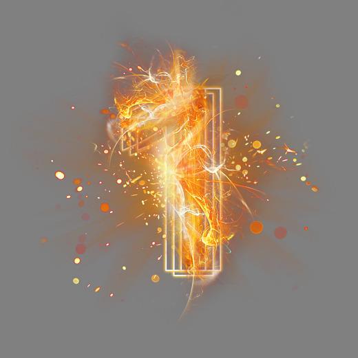 光芒层次火焰倒计时数字1字体下载_艺术字图片素材-字