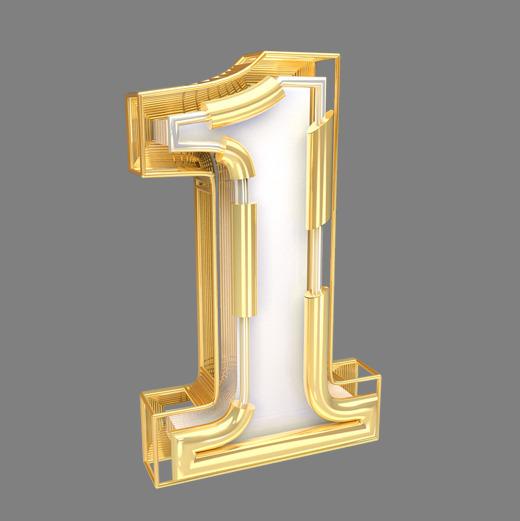 金色倒计时数字1可商用字体下载_艺术字图片素材下载